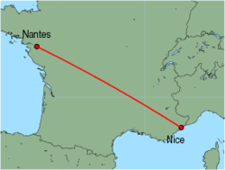 Map of route from Nice to Nantes