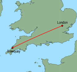 Map of route from London (Stansted) to Newquay