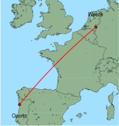 Map of route from Oporto to Weeze