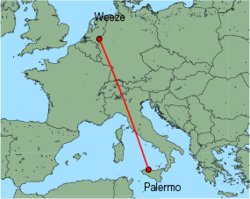Map of route from Palermo to Weeze