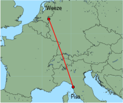 Map of route from Pisa to Weeze