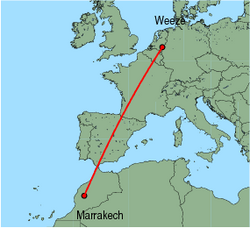 Map of route from Marrakech to Weeze