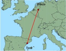 Map of route from Reus to Weeze
