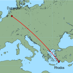Map of route from Rhodos to Weeze