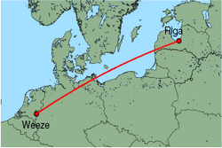 Map of route from Riga to Weeze