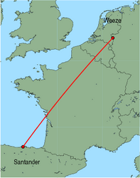 Map of route from Santander to Weeze