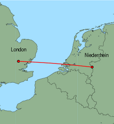Map of route from London (Stansted) to Weeze