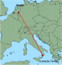 Map of route from Lamezia-Terme to Weeze