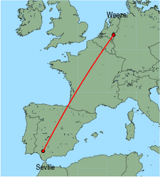 Map of route from Seville to Weeze