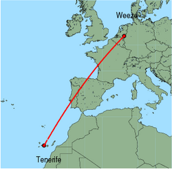 Map of route from Tenerife (Sur) to Weeze