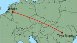 Map of route from Weeze to Tirgu Mures
