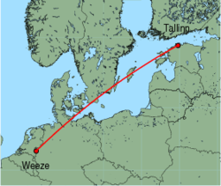 Map of route from Tallinn to Weeze