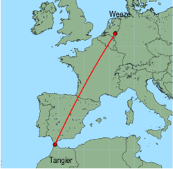 Map of route from Weeze to Tangier