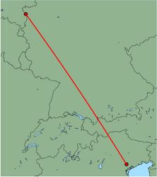 Map of route from Venice (Treviso) to Weeze
