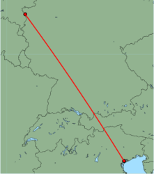 Map of route from Venice(MarcoPolo) to Weeze