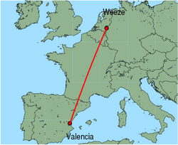 Map of route from Valencia to Weeze