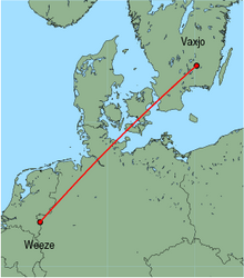 Map of route from Vaxjo to Weeze