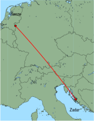 Map of route from Zadar to Weeze