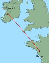Map of route from Shannon to Nantes
