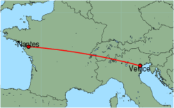 Map of route from Nantes to Venice (Marco Polo)