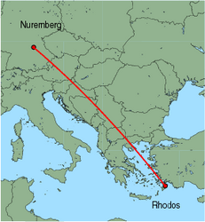 Map of route from Nuremberg to Rhodos