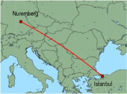 Map of route from Nuremberg to Istanbul(Sabiha)