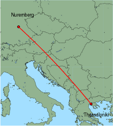 Map of route from Nuremberg to Thessaloniki