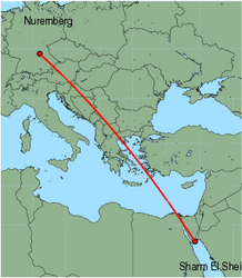 Map of route from Nuremberg to Sharm El Sheikh