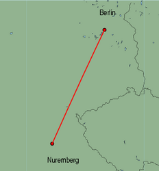 Map of route from Nuremberg to Berlin (Tegel)