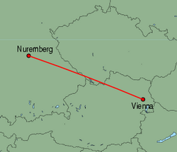 Map of route from Vienna to Nuremberg