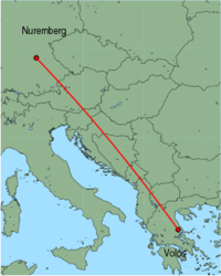 Map of route from Nuremberg to Volos