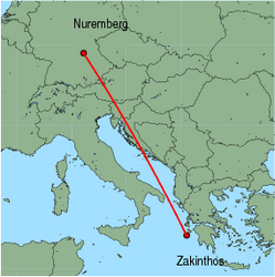 Map of route from Nuremberg to Zakinthos