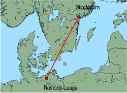 Map of route from Stockholm(Skavsta) to Rostock-Laage