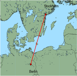 Map of route from Stockholm (Skavsta) to Berlin (Schoenefeld)