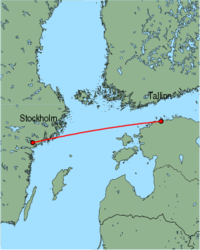 Map of route from Stockholm (Skavsta) to Tallinn