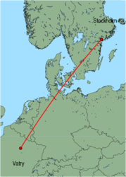 Map of route from Stockholm (Skavsta) to Vatry