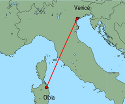 Map of route from Venice (Marco Polo) to Olbia