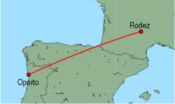 Map of route from Oporto to Rodez