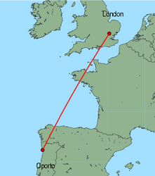 Map of route from Oporto to London&nbsp;(Stansted)