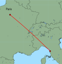 Map of route from Pisa to Paris(Orly)