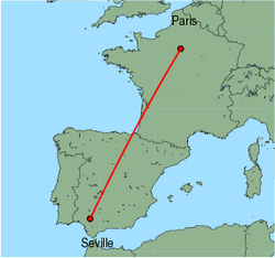 Map of route from Paris(Orly) to Seville