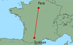 Map of route from Toulouse to Paris (Orly)