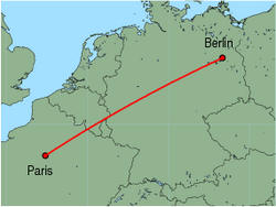 Map of route from Berlin(Tegel) to Paris(Orly)