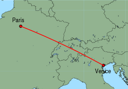 Map of route from Venice (Marco Polo) to Paris (Orly)