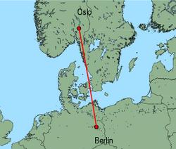Map of route from Oslo(International) to Berlin(Schoenefeld)