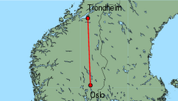 Map of route from Trondheim to Oslo (International)