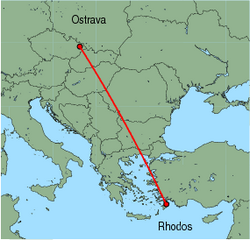 Map of route from Ostrava to Rhodos
