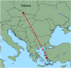 Map of route from Ostrava to Samos