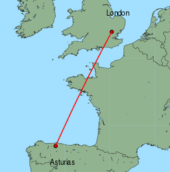Map of route from Oviedo to London (Stansted)
