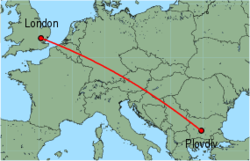Map of route from London (Stansted) to Plovdiv